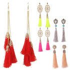 Classical Eastern Tassel Pearl Bead Crystal Gold Stud Women Party Dress Earrings