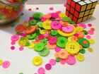 BUTTONS - NEON Nostalgia Mix incl. Orange Yellow Pink Green shades - BRAND NEW!!