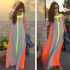 Maxi Dress Beach Dresses Cocktail Party Boho S-XL Chiffon Sleeveless Women's E