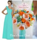 ASHA Aqua Spa Blue Corsage Chiffon Maxi Prom Bridesmaid Dress UK 6 - 18