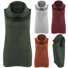 NEW WOMENS DRAPE COWL NECK TOP STRETCH MARL KNIT LOOK LADIES SLEEVELESS JUMPER