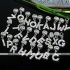5x Alphabet AB Clear Crystal Letters Falls Dangle European Charm Beads Fit Chain