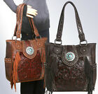 New Trinity Ranch Concealed Carry, Tooled Leather & Fringe Tote-5 Color Choices