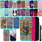 For Apple Iphone 6 Plus 5.5 inch PATTERN HYBRID Rubber HARD Case Cover + Pen