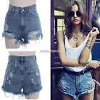 Women Button High Waisted Ripped Hole Short Mini Jeans Denim Hot Pants Shorts