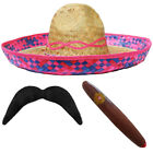 PINK STRAW SOMBRERO HAT + MOUSTACHE + CIGAR MEXICAN 6 PACK FANCY DRESS