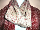 "RENEE'S NY KNIT SCARF Wool Acrylic Nylon Red Beige 66 x 9"" Long Fringe Unisex"
