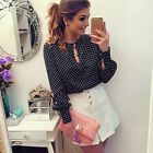 Fashion Women Polka Black Dot Bubble Long Sleeve Chiffon New Shirt Blouse