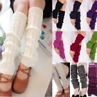 Women Girl`s Winter Crochet Knitted Leg Warmers Knit Plain Warm Knee High Socks