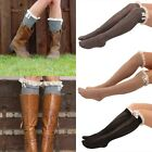 Fashion Women Lace Trim Boot Socks Button Knit Knee High Crochet Leg Warmers