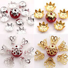 Lots 100PCS Golden/Silver Alloy Filigree Flower Bead Caps Craft Making Findings