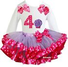 Lavender Hot Pink Satin Trimmed Tutu 4th Cupcake White Tee Birthday Party Dress