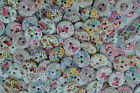 FLORAL PATERN MIXED ROUND BUTTONS HEART CARDMAKING CRAFT SCRAPBOOKING SEWING