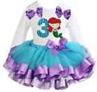 Number 3 Mermaid White Tee Blue Lavender Satin Trimmed Tutu Birthday Party Dress