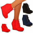 Ladies Womens Platform Wedge Ankle Boots Lace up Suede Shoe Booties Heels Size
