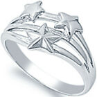 925 Sterling Silver Sideways Stars Good Luck Romantic Fancy Band Ring Size 3-12