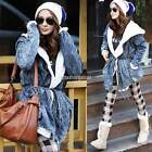 Hot Sale Fashion Women Denim Trench Coat Hoodie Outerwear Hooded Jeans Lady Coat