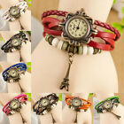 Retro Rome Hand Weaves Leather Charm Eiffel Tower Bracelet Quartz WristWatch
