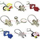 BKEM0006 MANY STYLES BACKPACK CHARM TWISTED STEEL CABLE / KEYRING KEYCHAIN