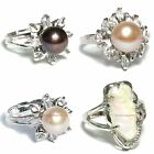 BRIM0029 CLASSIC STYLES SILVER PLATED FRESHWATER PEARL & CUBIC ZIRCONIA CZ RING