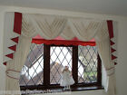 "CREAM SWAGS & TAILS SETS + CURTAINS FITS WINDOWS 61""to 105""(155-267cm) W x 89"" D"