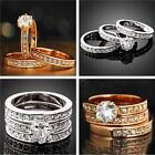 Newest 3 in 1 Set 18K Yellow Gold/Silver Zirconia Wedding Rings