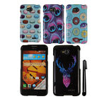 For LG Optimus L70 MS323 Snap On PATTERN HARD Case Phone Cover + Pen