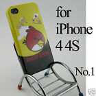 Cartoon Angry Bird Hard Back Case Cover Skin Glass SP for Apple iPhone 4 4G 4S