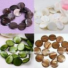 1 Strand 25mm Mother Of Pearl Shell Round Coin Loose Charms Bead Fit Jewelry DIY
