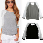 Fashion Womens Casual Sexy Lace Long Sleeve Backless Cotton T Shirt Tops Blouse