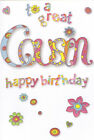 female cousin open happy birthday card - 3 x cards to choose from!