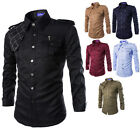 Fashion Long Sleeve Men's Epaulet Double Pocket Casual Military Dress Shirts TOP