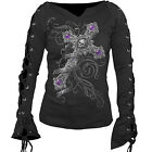 Spiral Direct True Love Skull Cross Gothic Black Lace Up Sleeve Tshirt Top