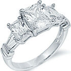 Sterling Silver 3 Stone Emerald Cut Clear CZ Engagement Wedding Ring Size 3-11