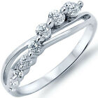 925 Sterling Silver Side Way Hope Abstract Infinity Sign Clear CZ Ring Size 3-11