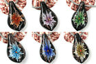 Colorful Leaf Flower Acacia Grass Lampwork GlassTeardrop Pendant Beads Fit DIY