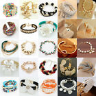 Elegant Fashion Vintage Lot Styles Women Gold Crystal Bangle Cuff Bracelets Gift