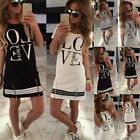 Lady Summer Casual Cotton Long Tops Women Sexy Love Print Blouse Mini Dress