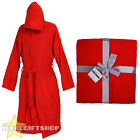 RED BATHROBE HOODED ROBE COTTON PLUS XL 2XL 3XL 4XL MENS LADIES DRESSING GOWN
