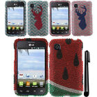 For LG Optimus Dynamic 2 L39C DIAMOND BLING GEM HARD Case Phone Cover + Pen