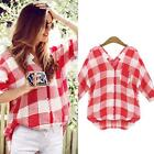 Plus Size Women's Casual V Neck Short Sleeve Plaid Button Down Shirt Blouse Tops