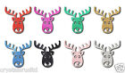 30mm Reindeer Christmas Iron On Fabric Glitter Festive decoration Gift applique