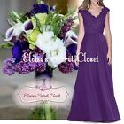 HELENA Cadbury Purple Lace Chiffon Bridesmaid Ballgown Prom Dress UK Sizes 6 -18