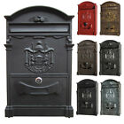 Large Heavy Duty Metal Lockable Secure Mail Letter Post Box Mailbox Postbox Kit