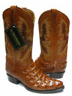 Mens Cognac Rust Brown Crocodile Back Cut Leather Cowboy Boots J Toe