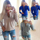 New Womens Casual  Zip V-neck Long Sleeve Sweatshirt Ladies Jumper Pullover Tops