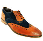 London Brogues Gatsby Men's Tan & Navy Blue Two Tone Lace Up Leather Brogues N