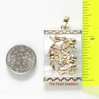 14k Solid Yellow Gold Hand Crafted Dragon 22x30mm White Mother of Pearl Pendant