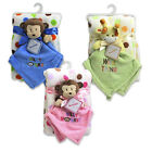 Baby Infant Lovey Blanket Gift Set Security Blanket + Plush Throw Giraffe Monkey