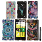 For Nokia Lumia 520 PATTERN HARD Protector Case Phone Cover Accessory + Pen